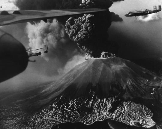 B-25s flying near erupting Mount Vesuvius